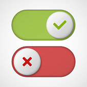 On off 3d switches sliders with red and green color. With On And Off. Vector illustration