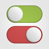 On off 3d switches sliders with red and green color.
