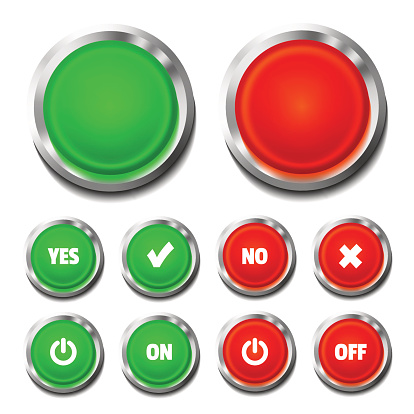 On Off Push Button Set (White Background)