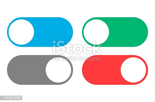 On Off switcher isolated on white background. Vector illustration. Eps 10.