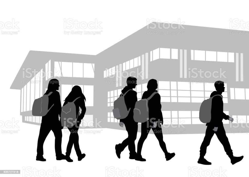 On Our Way To School vector art illustration