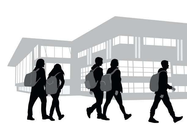 On Our Way To School Back to school vector illustration of silhouette students walking on campus carrying backpacks campus stock illustrations