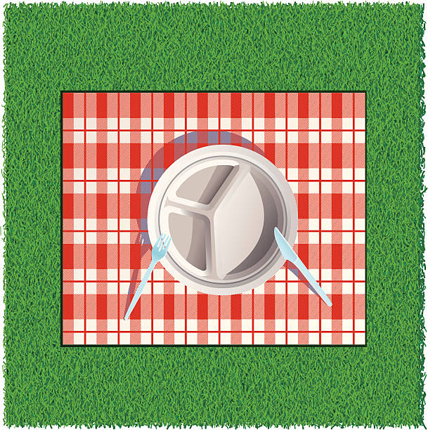 auf picknick - plastikteller stock-grafiken, -clipart, -cartoons und -symbole