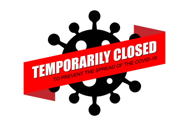 stockillustraties, clipart, cartoons en iconen met tijdelijk gesloten op rode bannerachtergrond. - dicht