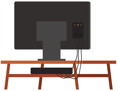 TV on stand. Wooden shelf for television vector illustration. Televisor on table, monitor back view