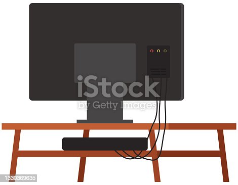 istock TV on stand. Wooden shelf for television vector illustration. Televisor on table, monitor back view 1330369635