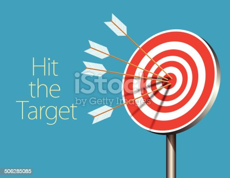 Vector of Row Red and White target with arrow. Information Tag and sample text included.