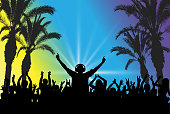 DJ on the background of the dancing crowd. Beach party. Silhouettes, vector illustration
