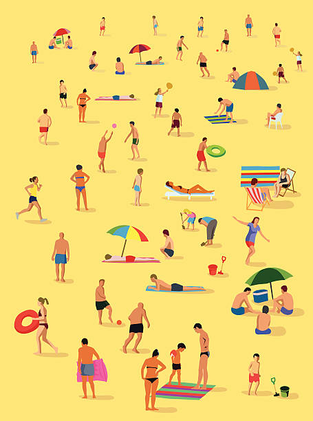 On the beach vector art illustration
