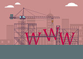 """On the construction site, the """"www"""" under construction. The background is brown."""