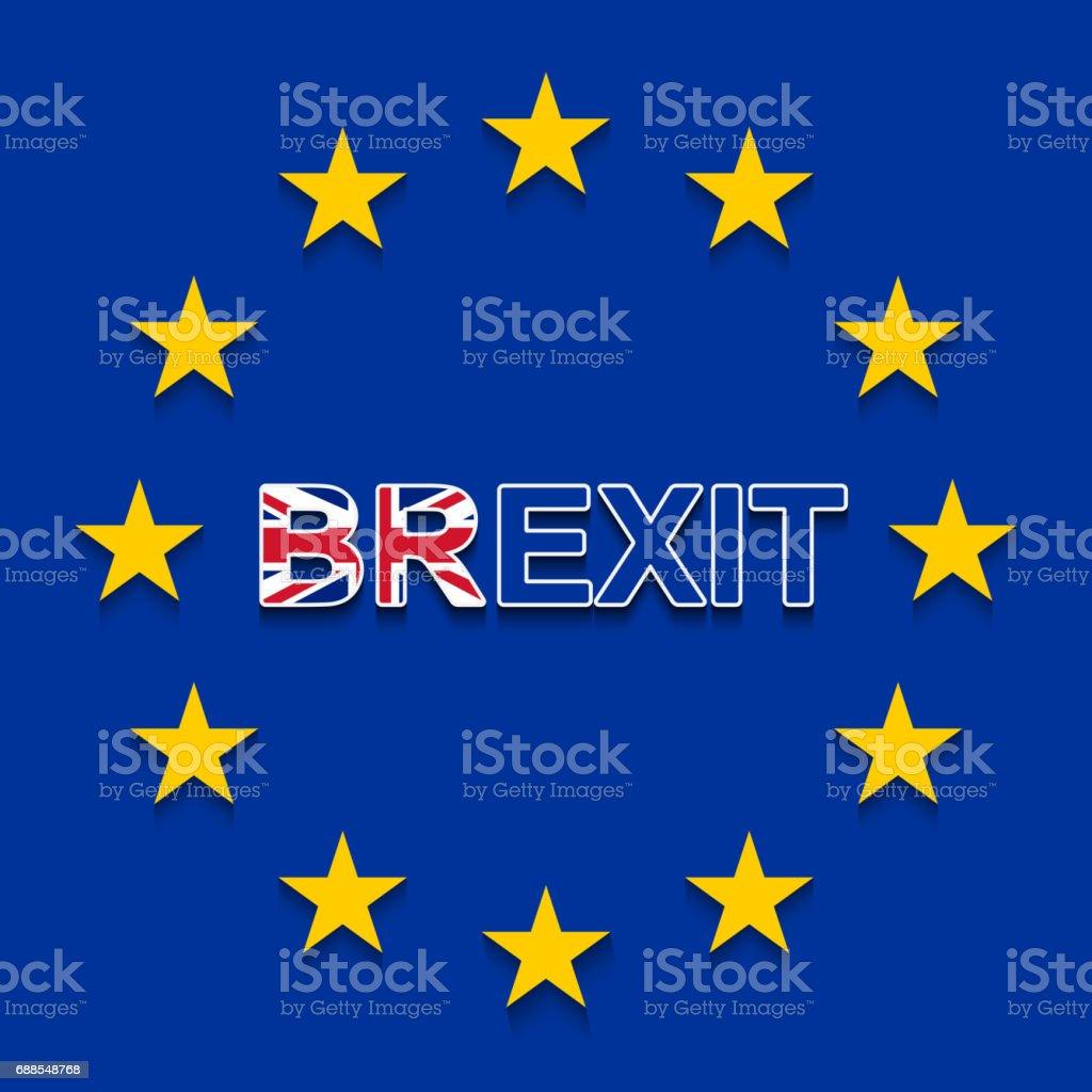 BREXIT sobre a bandeira da UE - a retirada do Reino Unido da UE - ilustração de arte em vetor