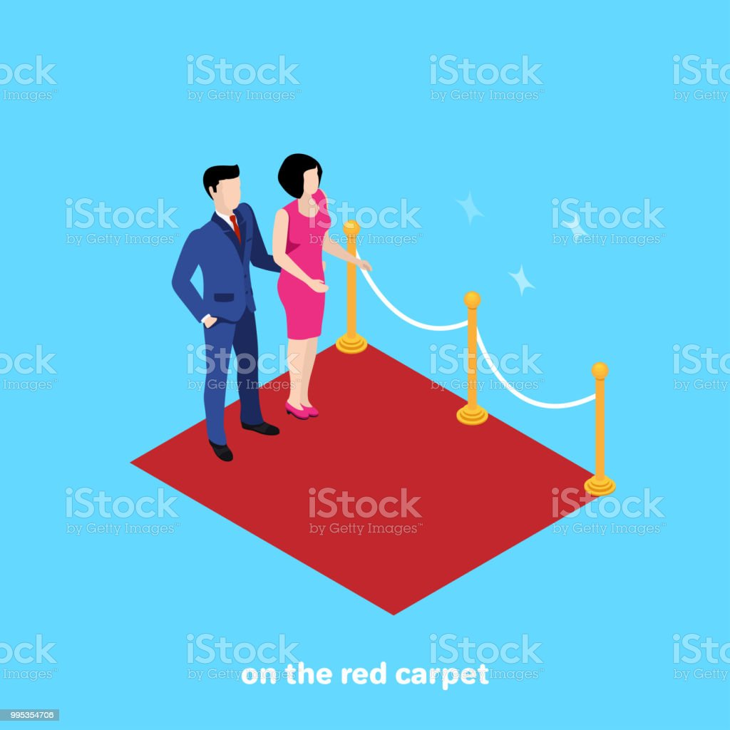 on the red carpet vector art illustration