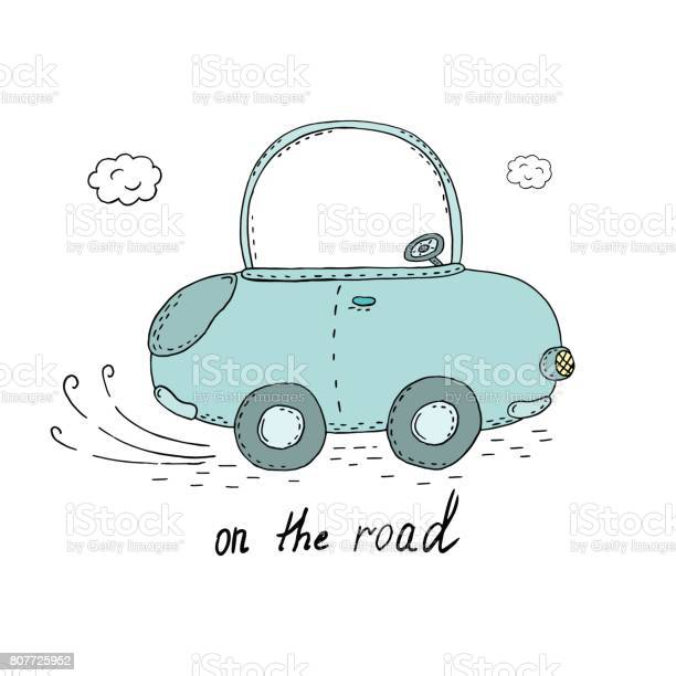 On the road card cute hand drawn car vector print vector id807725952?b=1&k=6&m=807725952&s=612x612&h=hdjkpcgcr0r6dpgh1xiziny3ze3kapgnriih9yt7 hk=