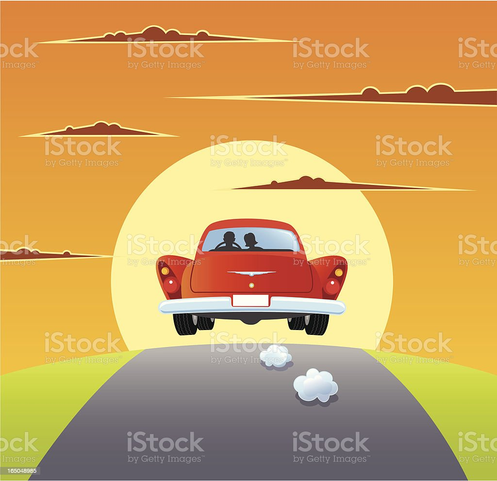 On The Road vector art illustration