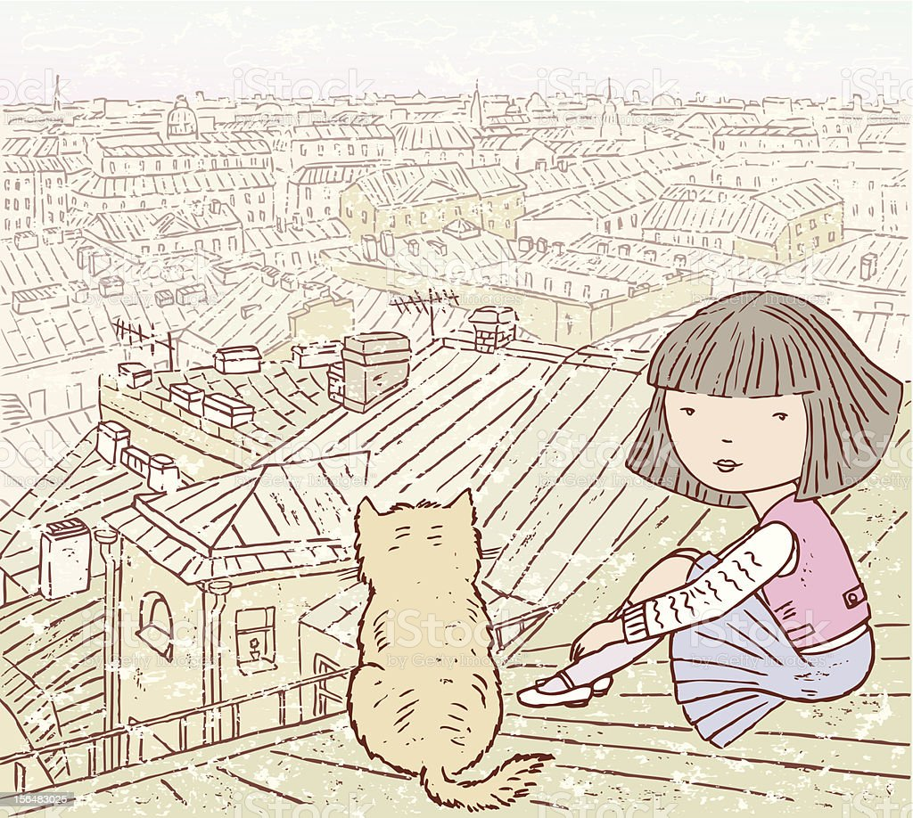 On the roof vector art illustration