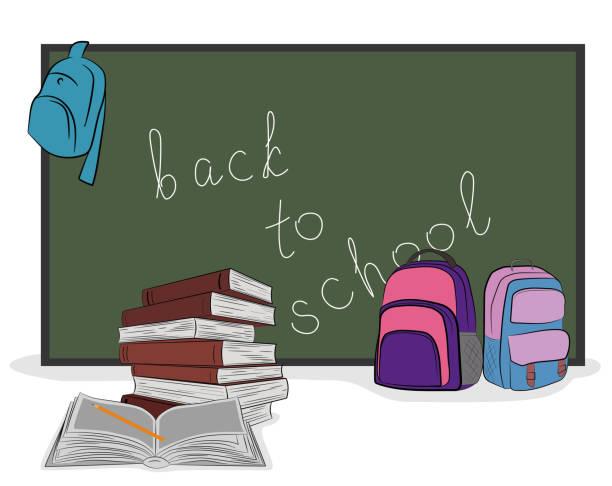 """ilustraciones, imágenes clip art, dibujos animados e iconos de stock de en la junta escolar escrita """"regreso a la escuela."""" asignaturas. mano dibujado cartoon vector ilustración para el diseño y la infografía. - regreso a clases"""