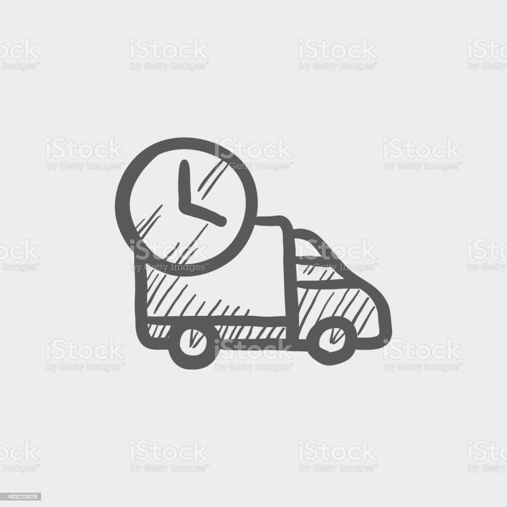 vetor de pontualidade na entrega van  u00cdcone de rascunho e