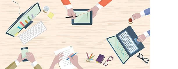 illustrazioni stock, clip art, cartoni animati e icone di tendenza di al tavolo di lavoro in scena in stile piatto - business meeting, table view from above