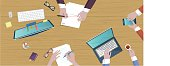 on top flat illustration of business creative table