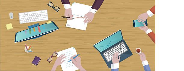illustrazioni stock, clip art, cartoni animati e icone di tendenza di sulla parte superiore piatta illustrazione di business tavolo creativo - business meeting, table view from above
