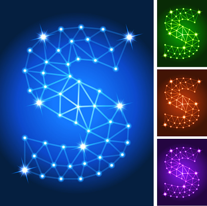 S on triangular nodes connection structure vector art
