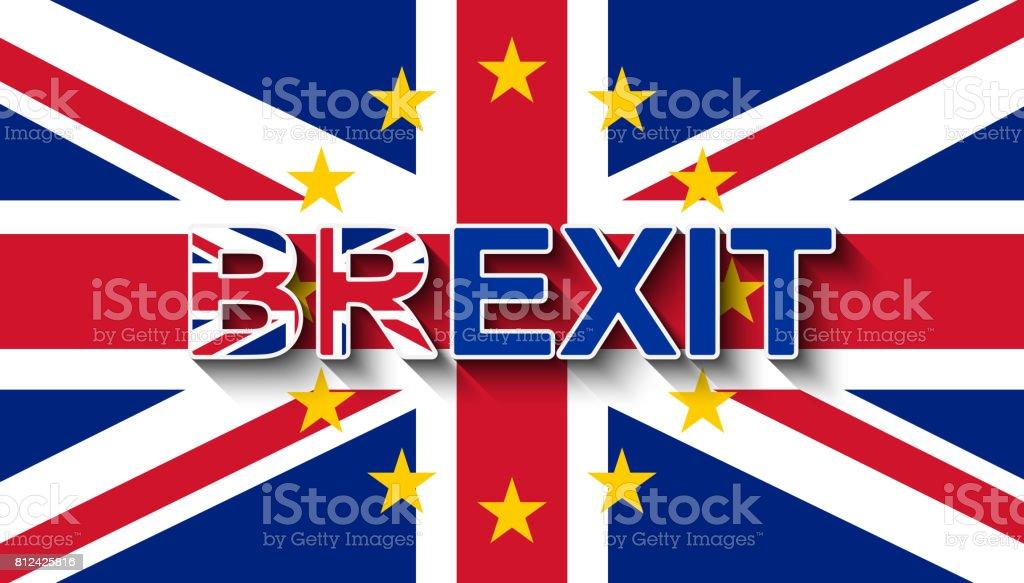 BREXIT na União Jack com a coroa de estrelas da União Europeia - retirada do Reino Unido da UE. - ilustração de arte em vetor