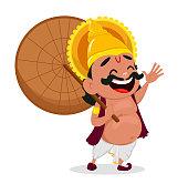 Onam celebration. King Mahabali holding umbrella, cheerful cartoon character. Happy Onam festival in Kerala. Vector illustration