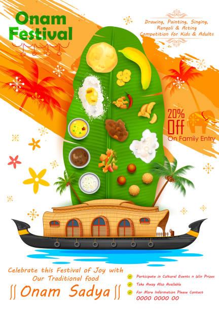 ilustraciones, imágenes clip art, dibujos animados e iconos de stock de onam deléitese con hoja de banana - comida india