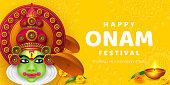 Onam festival background for South India Kerala traditional celebration. Onam Kathakali dancer with umbrella. Vector illustration.