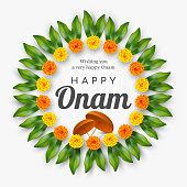 Onam festival background for South India Kerala traditional celebration. Floral wreath with umbrella. Vector illustration.