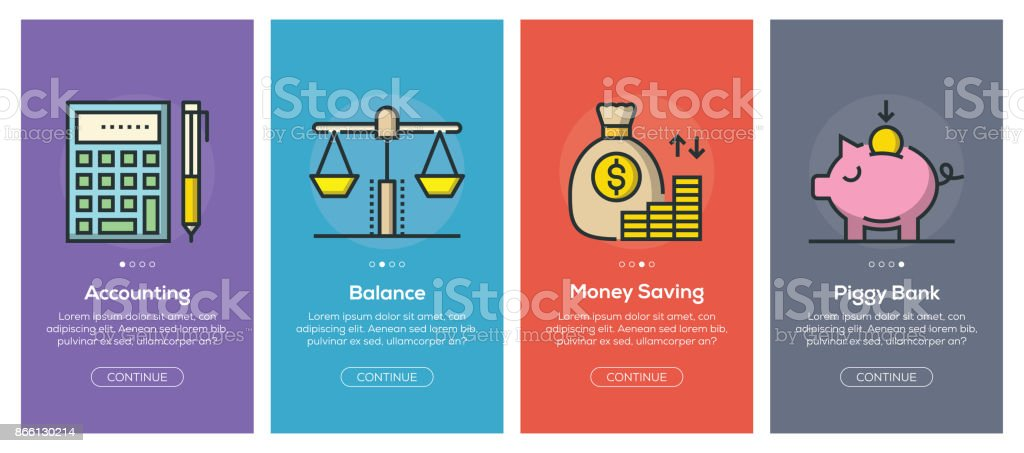 Onboarding app screens and flat line banking and finance web icons for mobile apps vector art illustration