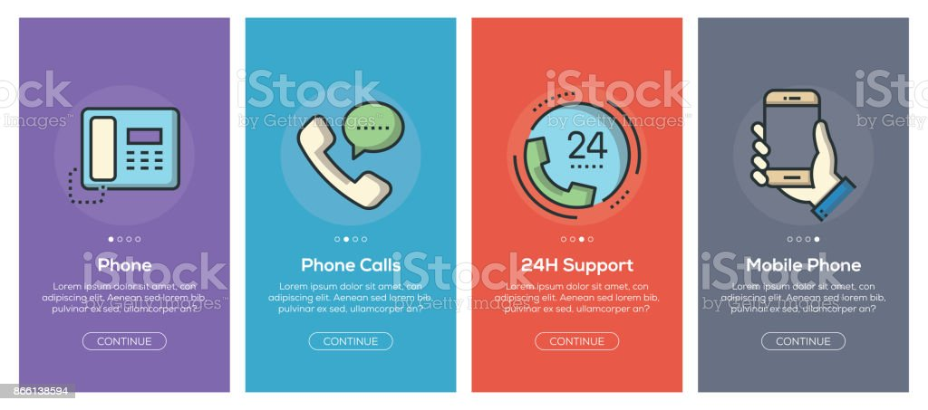 Onboarding app screens and flat line communication web icons for mobile apps Onboarding app screens and flat line communication web icons for mobile apps Answering Machine stock vector