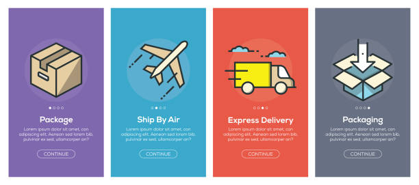onboarding app screens and flat line delivery web icons for mobile apps - delivery van stock illustrations, clip art, cartoons, & icons