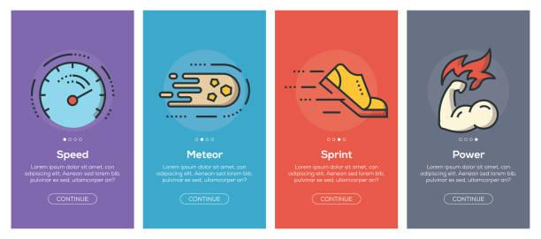 illustrations, cliparts, dessins animés et icônes de écrans de app onboarding et plat ligne icônes web performance pour des applications mobiles - chrono sport