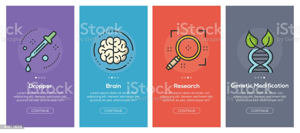 Onboarding app screens and flat line science web icons for mobile apps vector art illustration