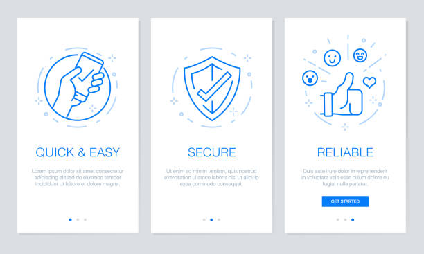 Onboarding app screens. Modern and simplified vector illustration walkthrough screens template for mobile apps. vector art illustration