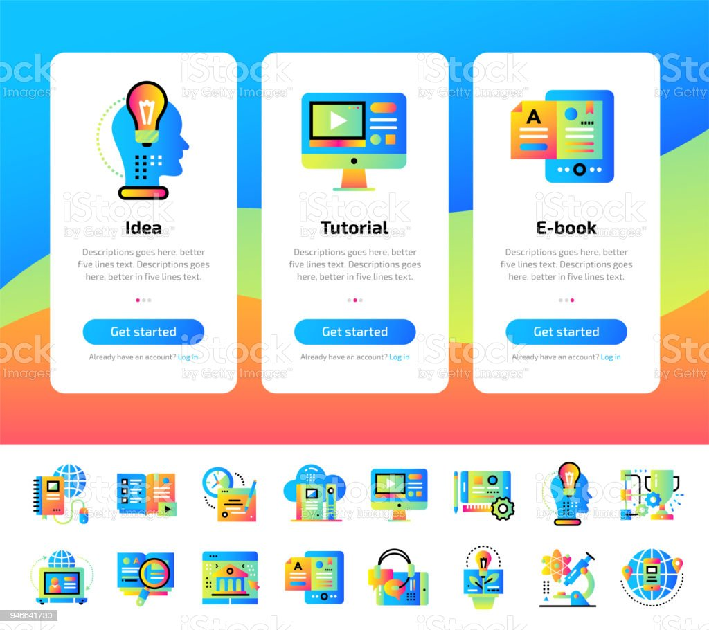 Onboarding App Screens Of Education And Elearning Icons Set Suitable