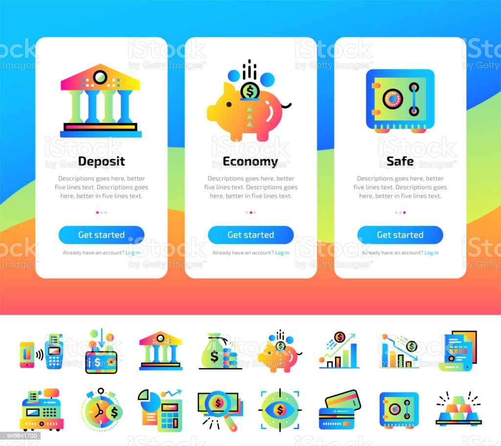 Onboarding App Screens Of Finance Banking Icons Set Suitable For Interface  Ui Ux Mobile Apps Websites Stock Illustration - Download Image Now