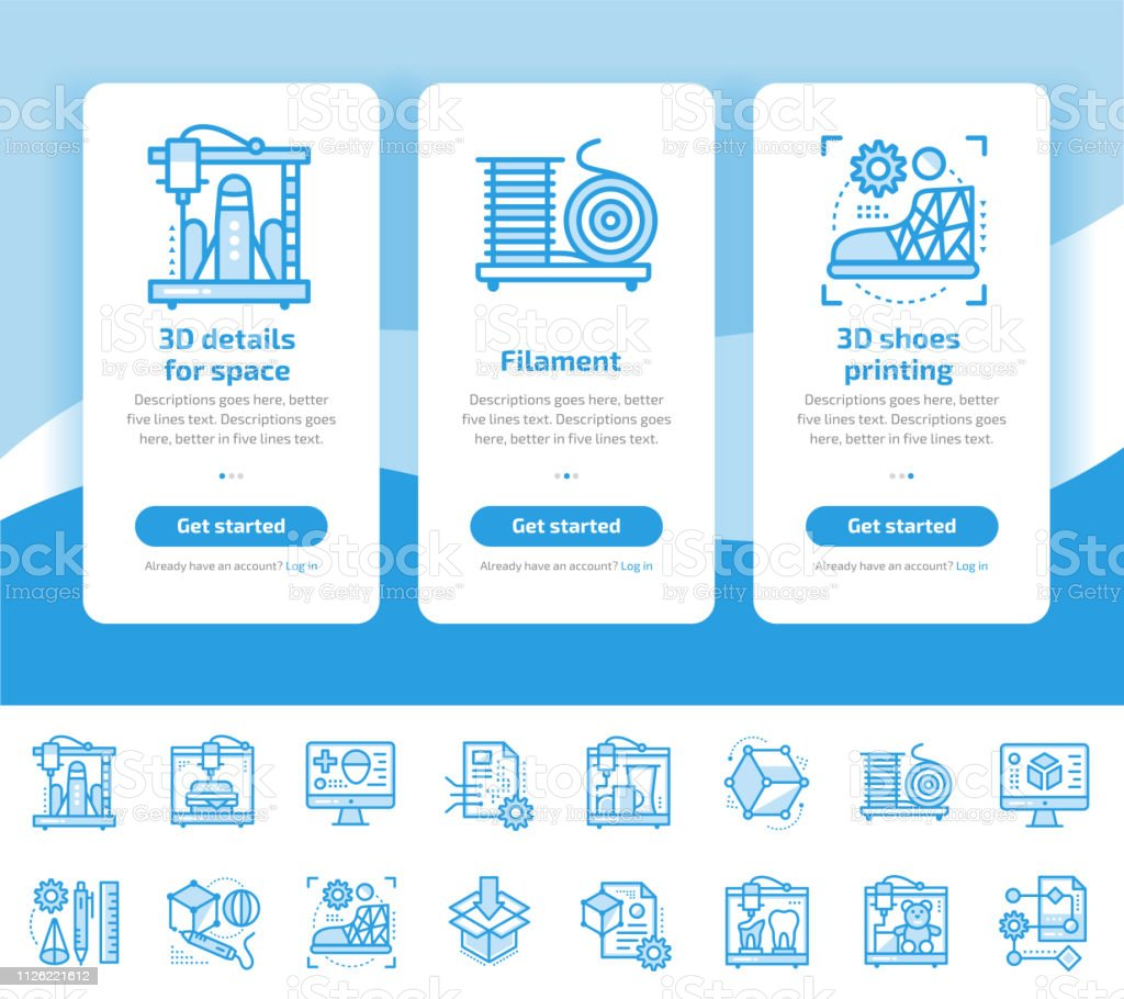 Onboarding Design Concept Icons For 3d Printing And Modeling Modern