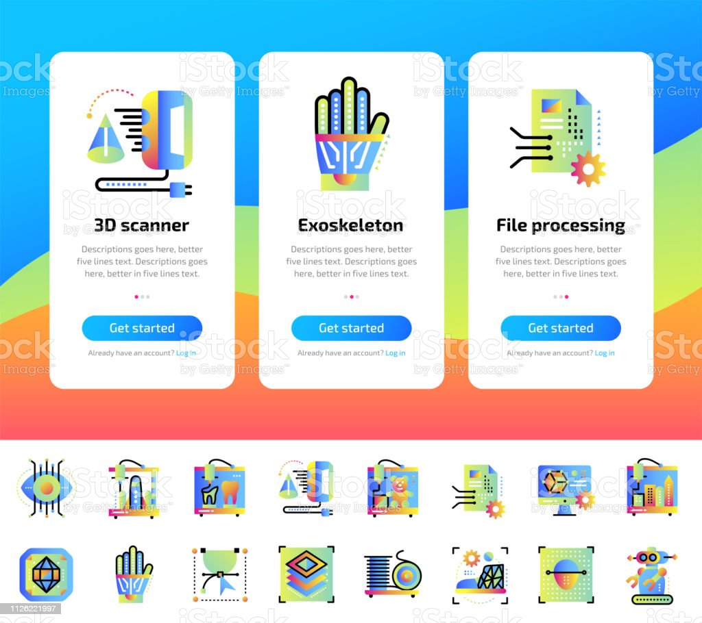 Onboarding Design Concept Icons For 3d Printing And Modeling Modern User Interface Ux Ui Screen Template Icons For Responsive Web Site And Mobile Smart Phone Vector Illustration Stock Illustration Download Image
