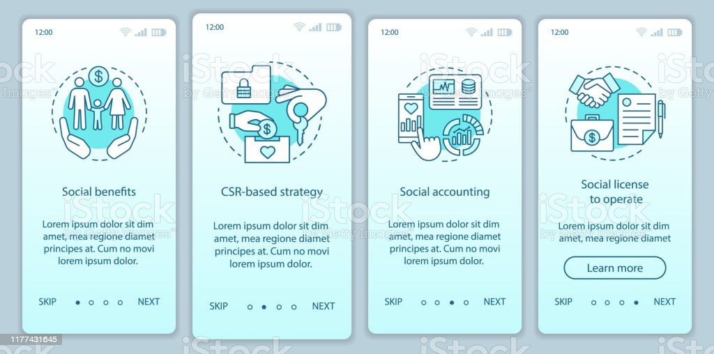 Csr Onboarding Mobile App Page Screen Vector Template Stock