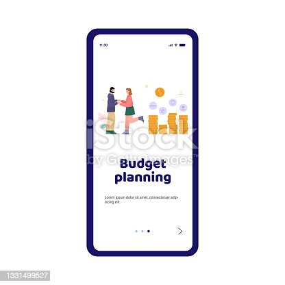 istock Onboarding page mockup for family budget planning, flat vector illustration. 1331499527