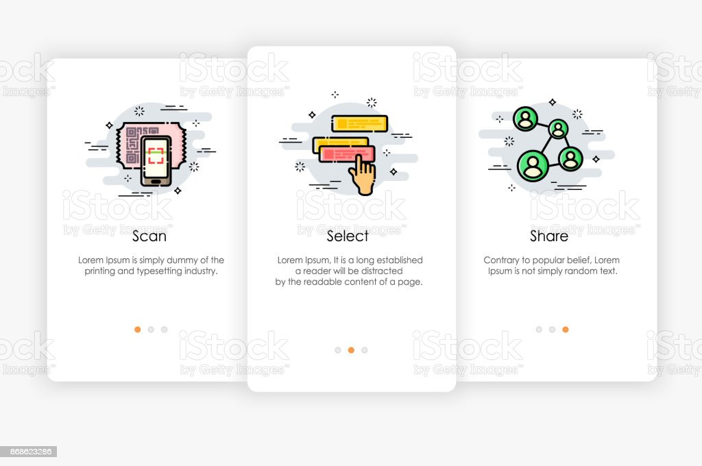 Onboarding screens design in how to use app concept. Scan Select and Share icon. Modern and simplified vector illustration, Template for mobile apps. vector art illustration