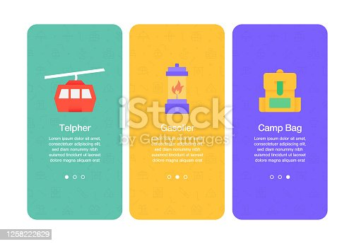 Onboarding screens for websites and mobile apps related to adventure, telpher, gasolier, rucksack