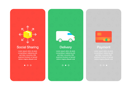 Onboarding screens for websites and mobile apps related to e-commerce