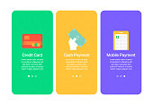 Onboarding screens for websites and mobile apps related to money, credit card, cash payment, mobile payment