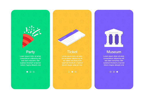 Onboarding screens for websites and mobile apps related to entertainment