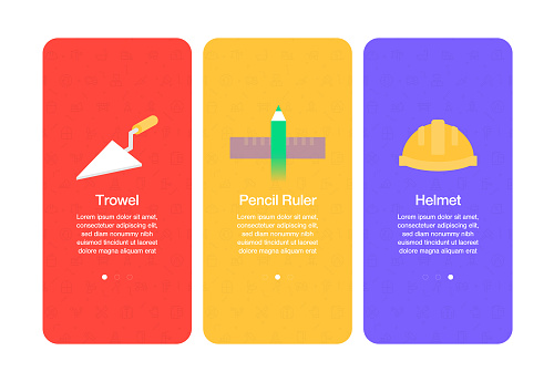 Onboarding screens for websites and mobile apps related to construction