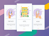 Onboarding screens user interface kit for mobile app templates concept of find hotel. Concept for web banners, websites, infographics.