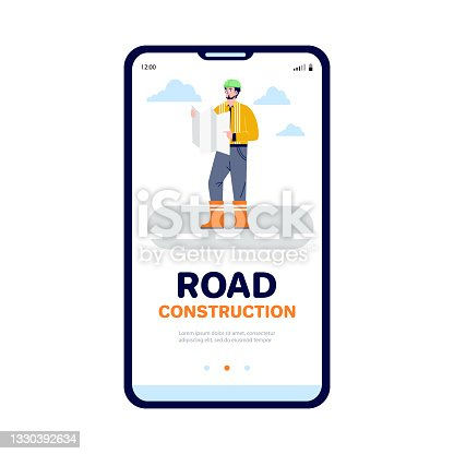 istock Onboarding start mobile page with road builder in flat vector illustration 1330392634